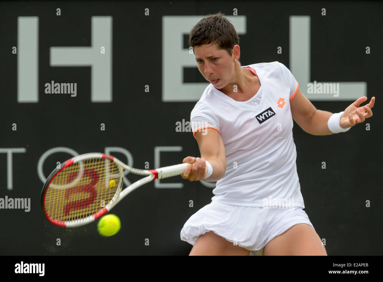 Tennis player carla suarez navarro esp hits a forehand during her 2nd round singles