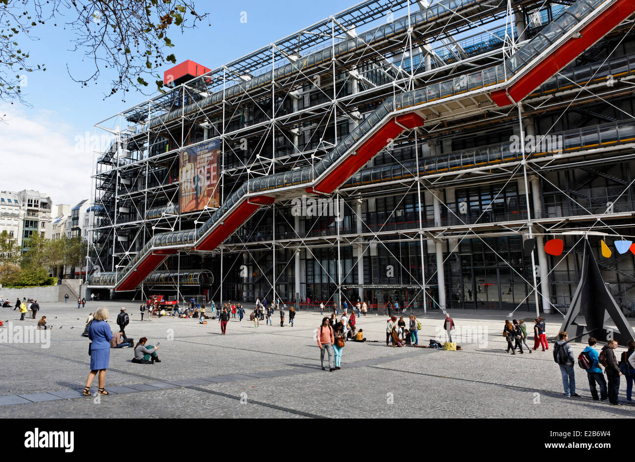 france paris centre pompidou by architects renzo piano richard stock photo royalty free. Black Bedroom Furniture Sets. Home Design Ideas