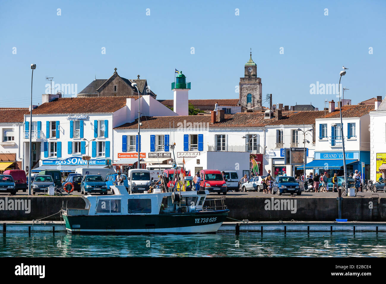 france vendee ile d 39 yeu port joinville the quays stock photo royalty free image 70322060. Black Bedroom Furniture Sets. Home Design Ideas
