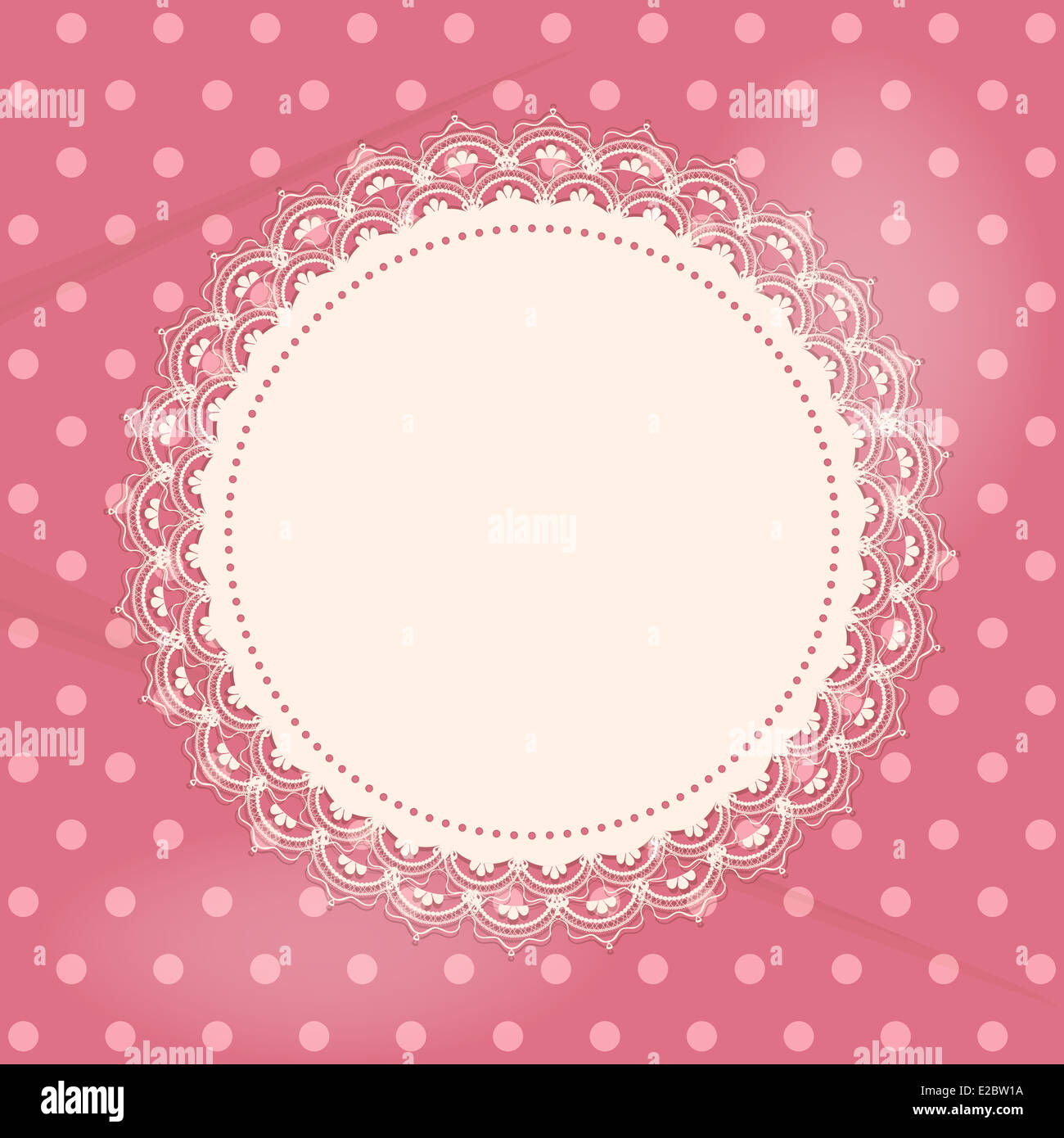 Lace doily border on a pink polka dot background stock photo lace doily border on a pink polka dot background voltagebd Choice Image