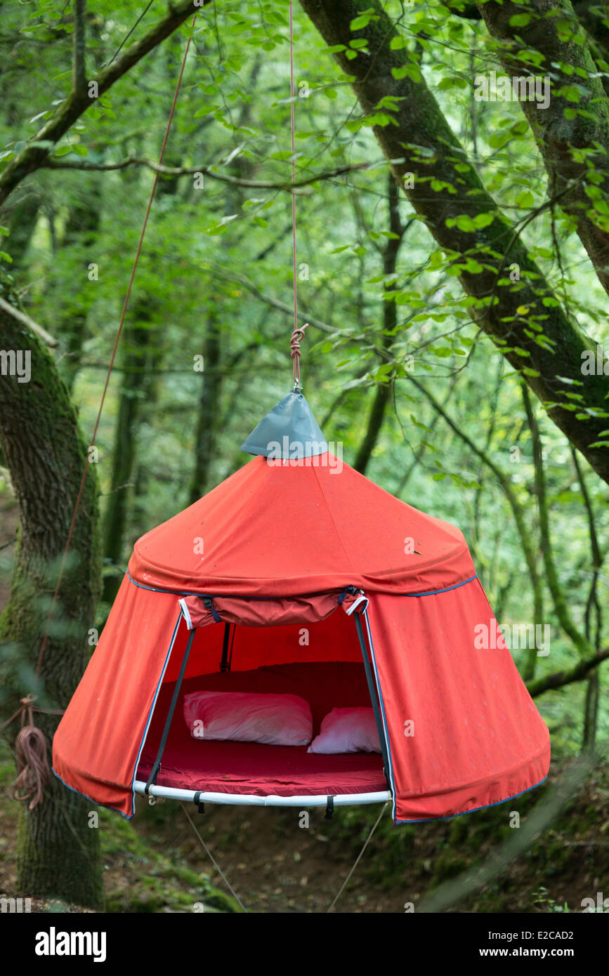 France Cotes du0027Armor Tremargat leisure complex with unusual accommodation tents suspended in wood  sc 1 st  Alamy & France Cotes du0027Armor Tremargat leisure complex with unusual ...