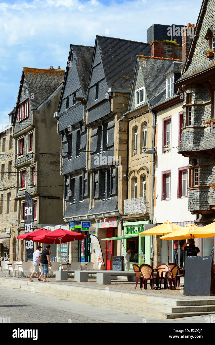 France, Cotes d'Armor, the city of Lannion, frontages on the square Stock Photo, Royalty Free ...