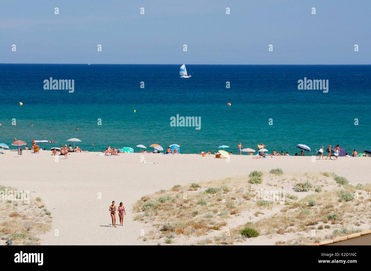 France Aude Corbieres Port Leucate the sandy beach Stock Photo ...