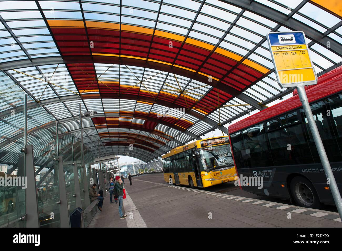 netherlands amsterdam bus station at the central station of train stock photo royalty free. Black Bedroom Furniture Sets. Home Design Ideas