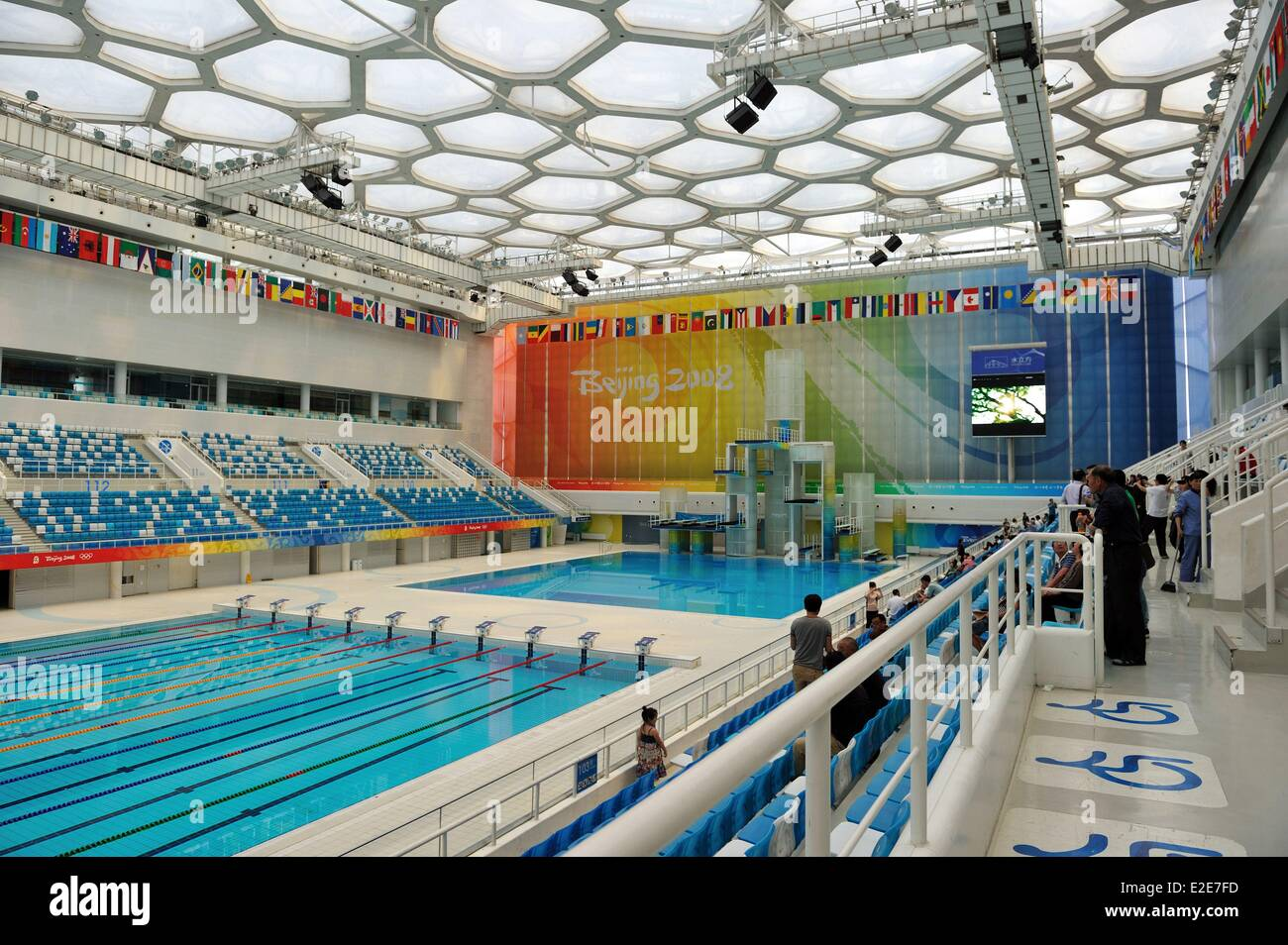 China beijing olympic park national aquatics center water cubic stock photo royalty free for Beijing swimming pool olympics
