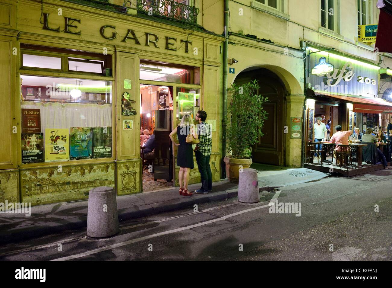 france rhone lyon restaurant bouchon lyonnais le garet the hero stock photo royalty free. Black Bedroom Furniture Sets. Home Design Ideas