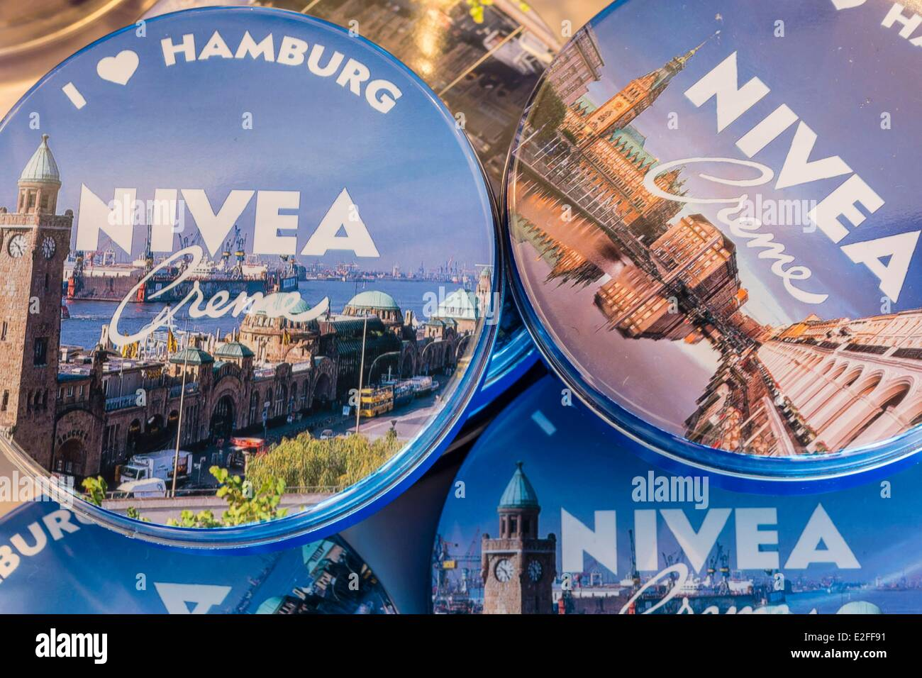 Stock Photo - Germany, Hamburg, Nivea Haus, Nivea cream locally founded in 1911 and belonging to the German group Beiersdorf, limited editions