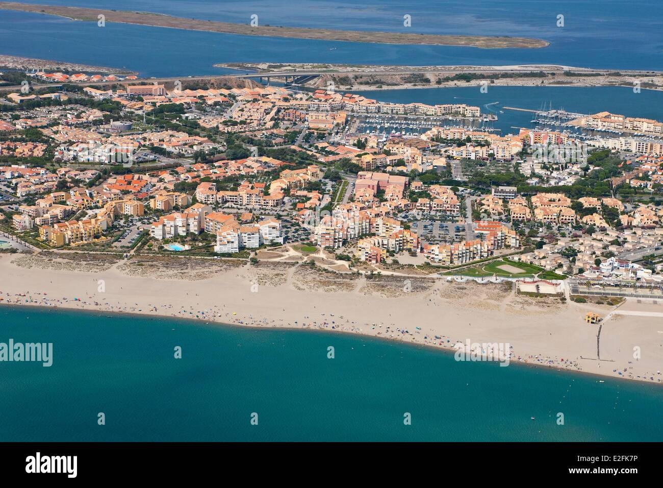 France, Aude, Corbieres, Port Leucate (aerial view Stock Photo ...