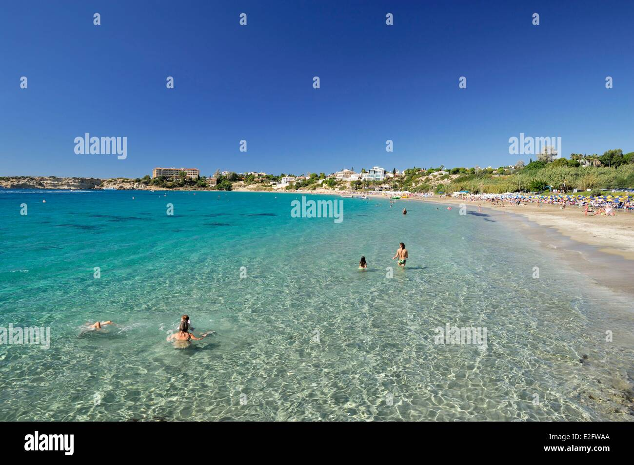 Cyprus Paphos District Maa Coral Bay Beach Vacationers In Water