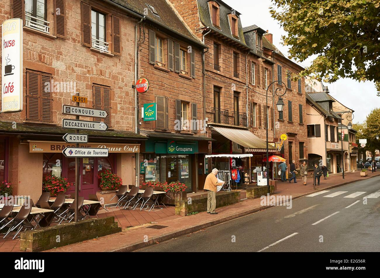 france aveyron marcillac vallon street view stock photo 70426127 alamy. Black Bedroom Furniture Sets. Home Design Ideas