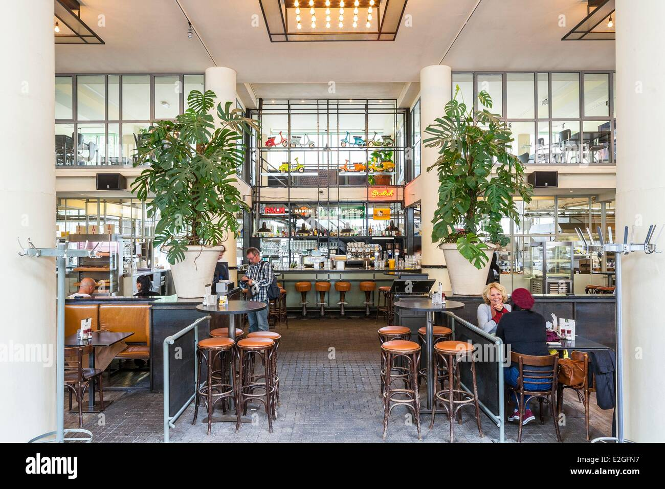 Cafe in the vieux port terra vecchia bastia corsica france stock - Netherlands South Holland Rotterdam Coffee Dudok Brasserie Opened In 1991 In A Building Designed In 1945