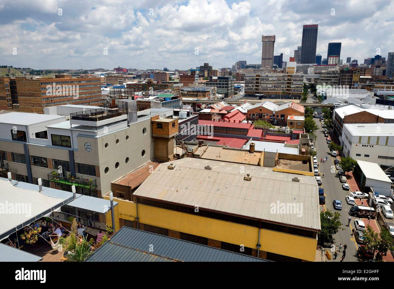 South Africa Gauteng Province Johannesburg CBD Central Business District Maboneng Around Fox Street Living Room Restaurant And Bar In Foreground