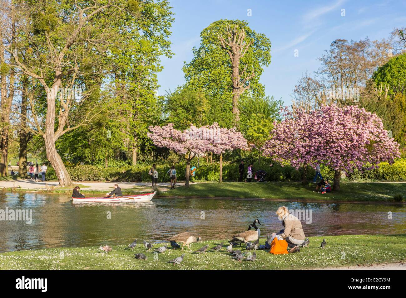 France Paris Le Bois de Vincennes Daumesnil lake at spring Stock Photo