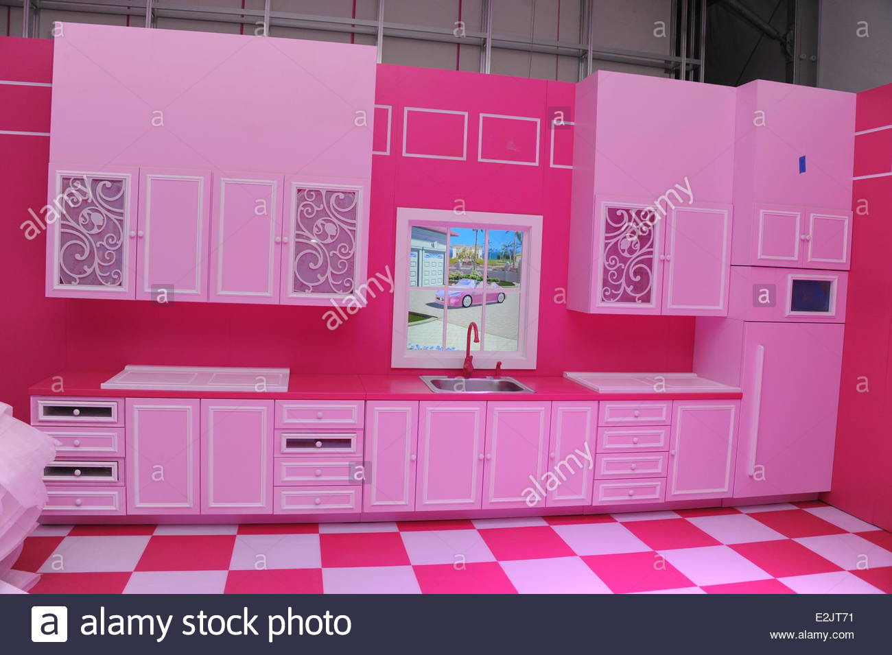 Kitchen at a guided tour at barbie the dreamhouse experience in mitte where berlin germany when 12 apr 2013