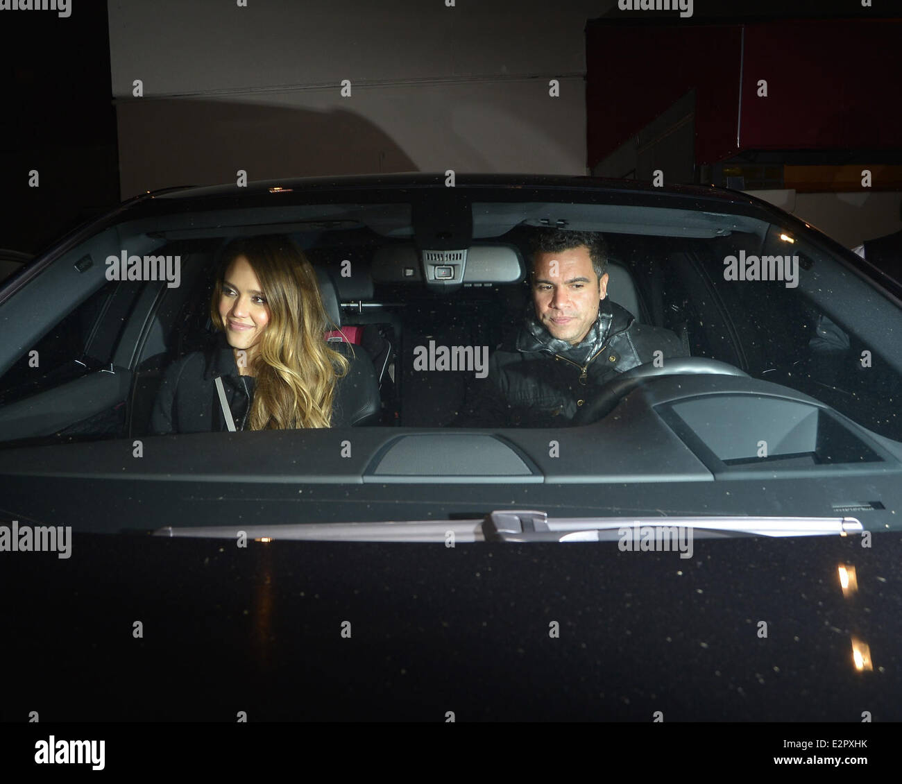 Jessica Alba And Cash Warren Get Into Their Car After Dining At