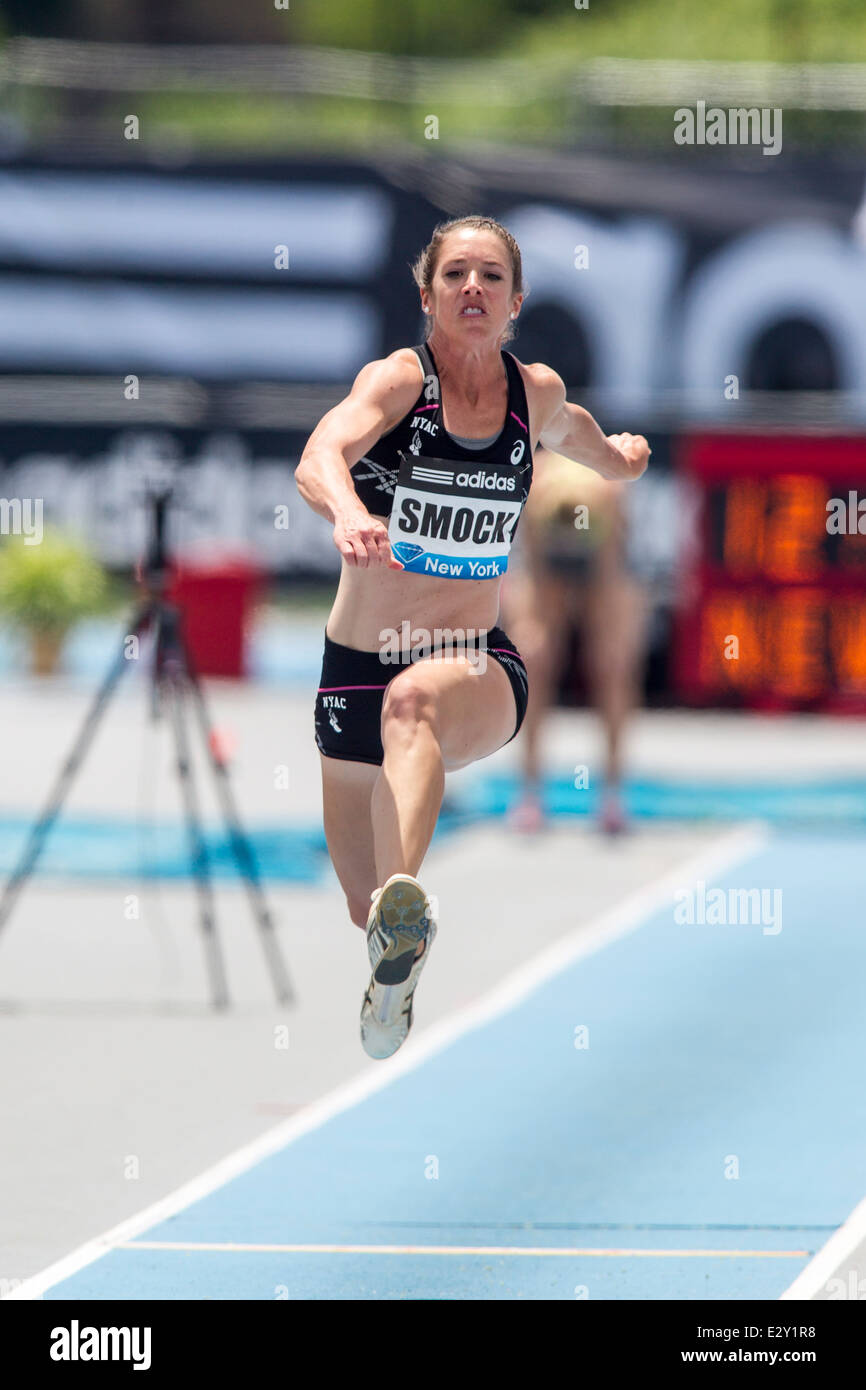 Amanda Smock (USA) competing in the triple jump at the 2014 Adidas Track  and Field Grand Prix
