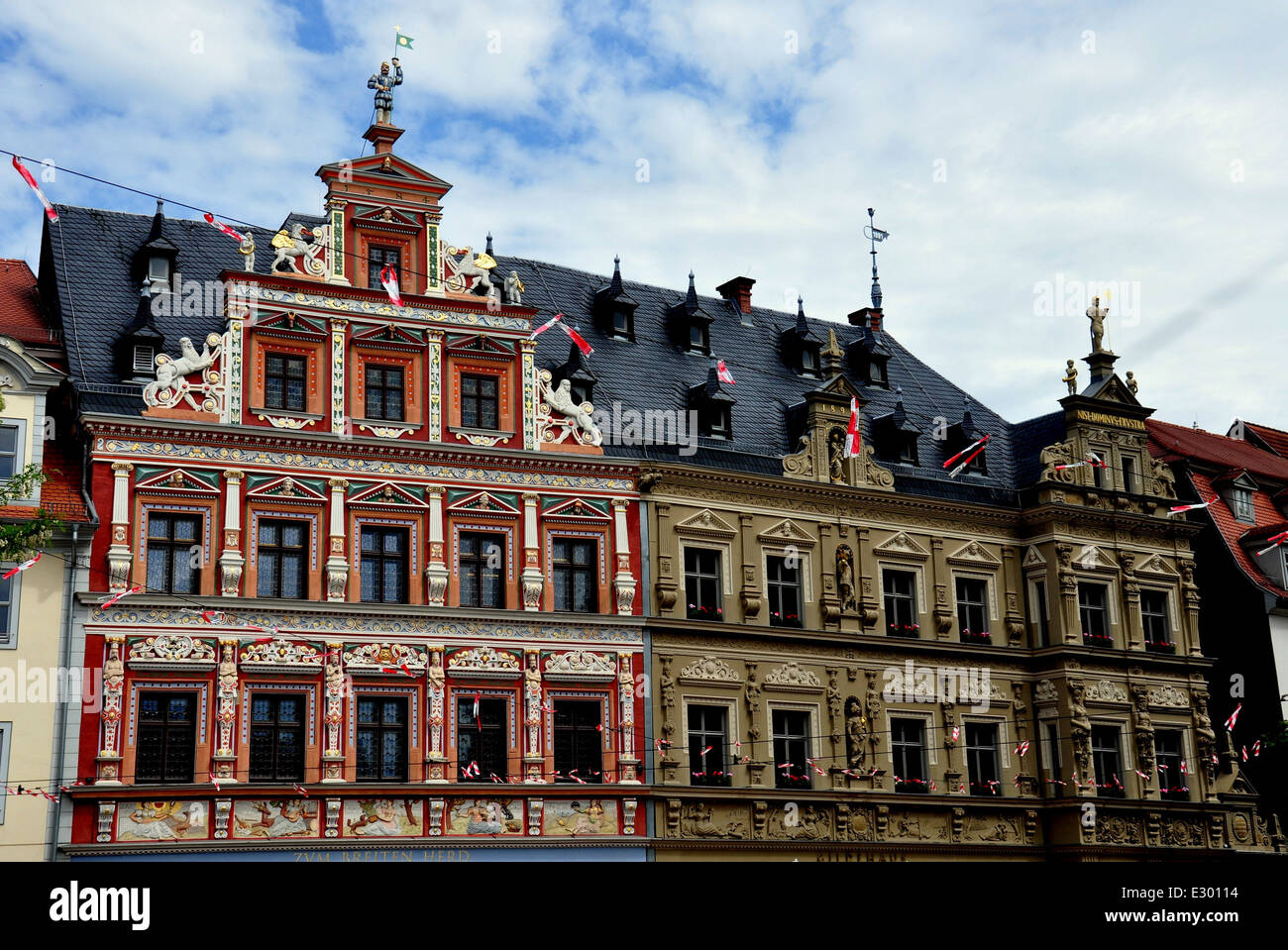 erfurt germany renaissance zum breiten herd haus with bas relief stock photo royalty free. Black Bedroom Furniture Sets. Home Design Ideas