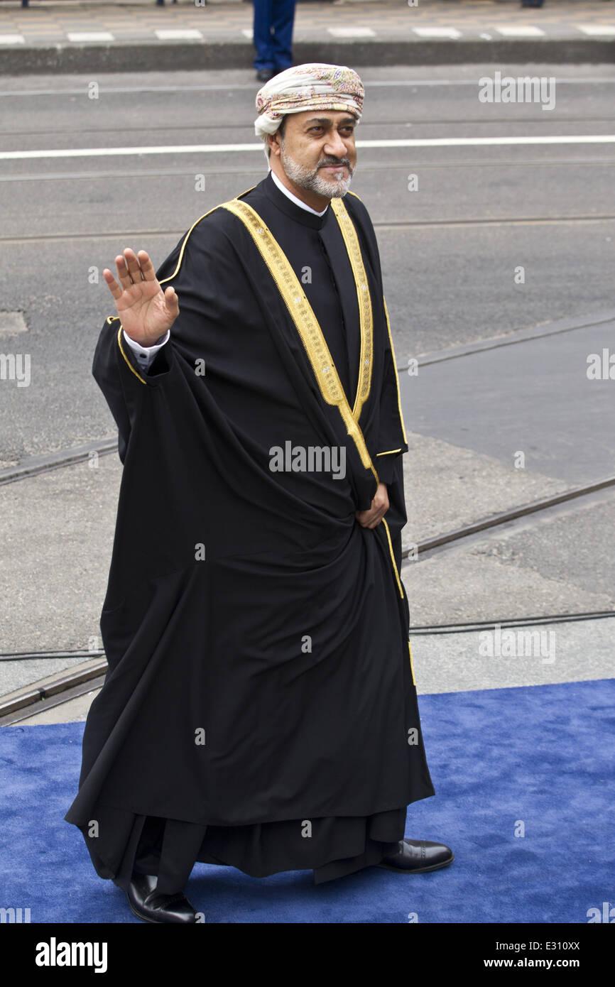 inauguration of king willem alexander of the and queen inauguration of king willem alexander of the and queen maxima of the at nieuwe kerk featuring haitham bin tariq al said of