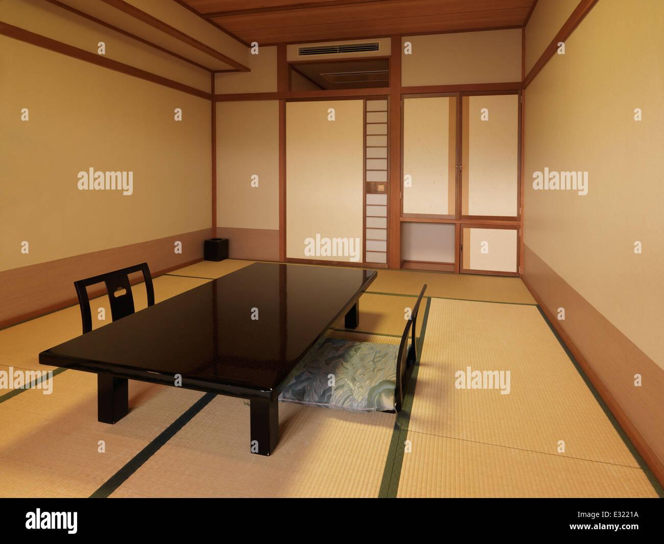 Traditional Japanese Room Interior At A Ryokan Chabudai