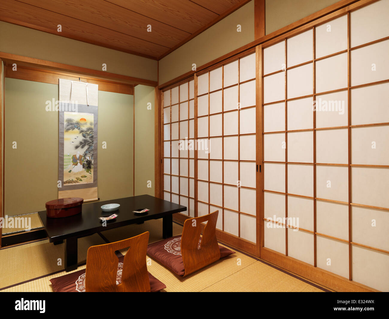 Japanese tea table furniture - Chabudai Tea Table And Zaisu Legless Chairs At Traditional Japanese Room Of Ryokan Hotel In Kyoto Japan