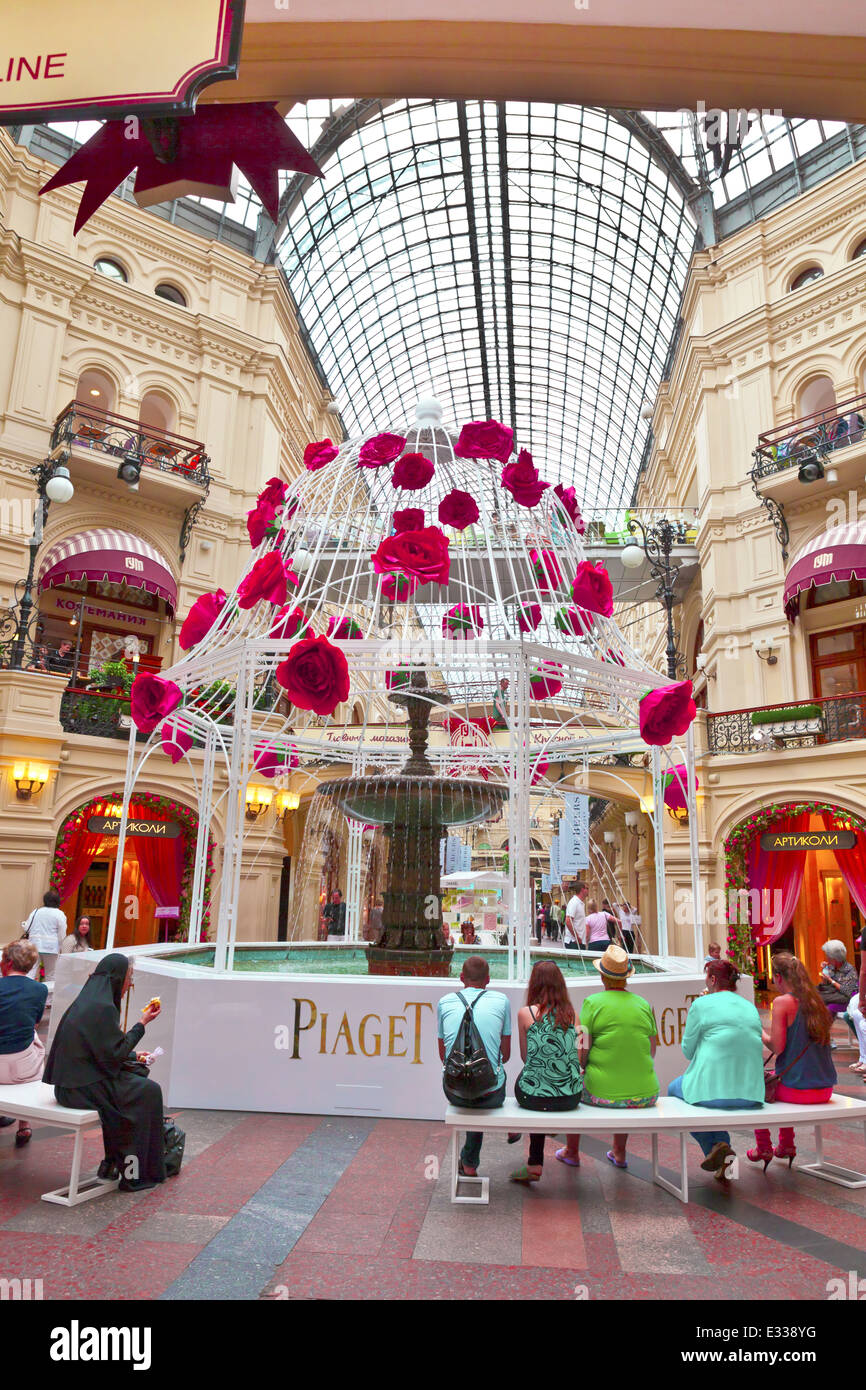 Fountain Inside Famous GUM The Large Store In The Kitai Gorod Part Of  Moscow Facing Red Square. It Is Currently A Shopping Mall