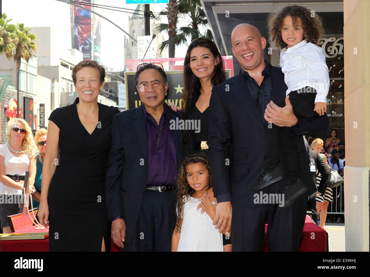 Stock photo vin diesel honored on the hollywood walk of fame featuring delora vincent irving vincent paloma jim nez hania riley vin diesel and son where