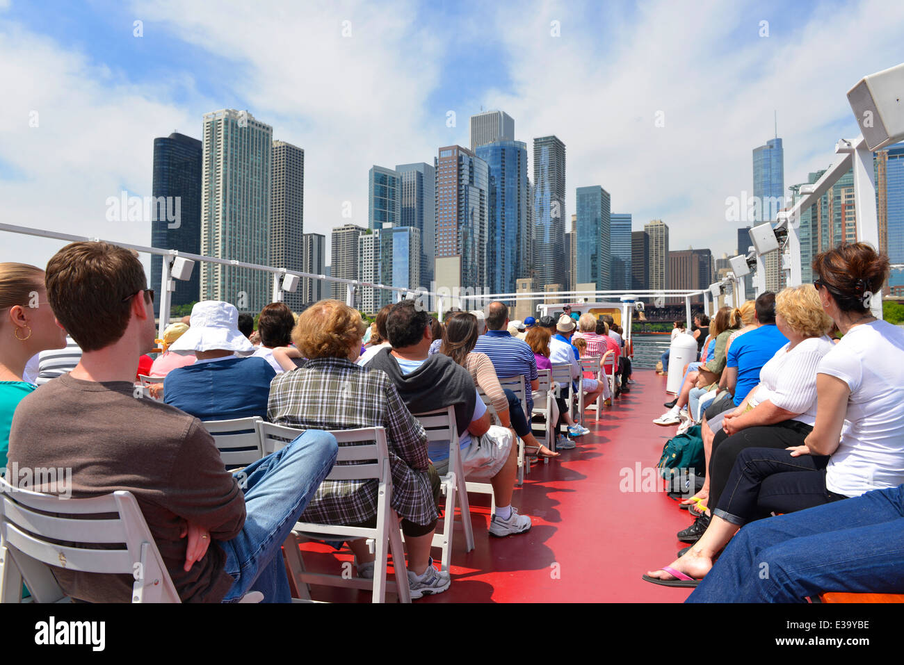 River Cruise Along The Chicago River, City Tour, Tourists