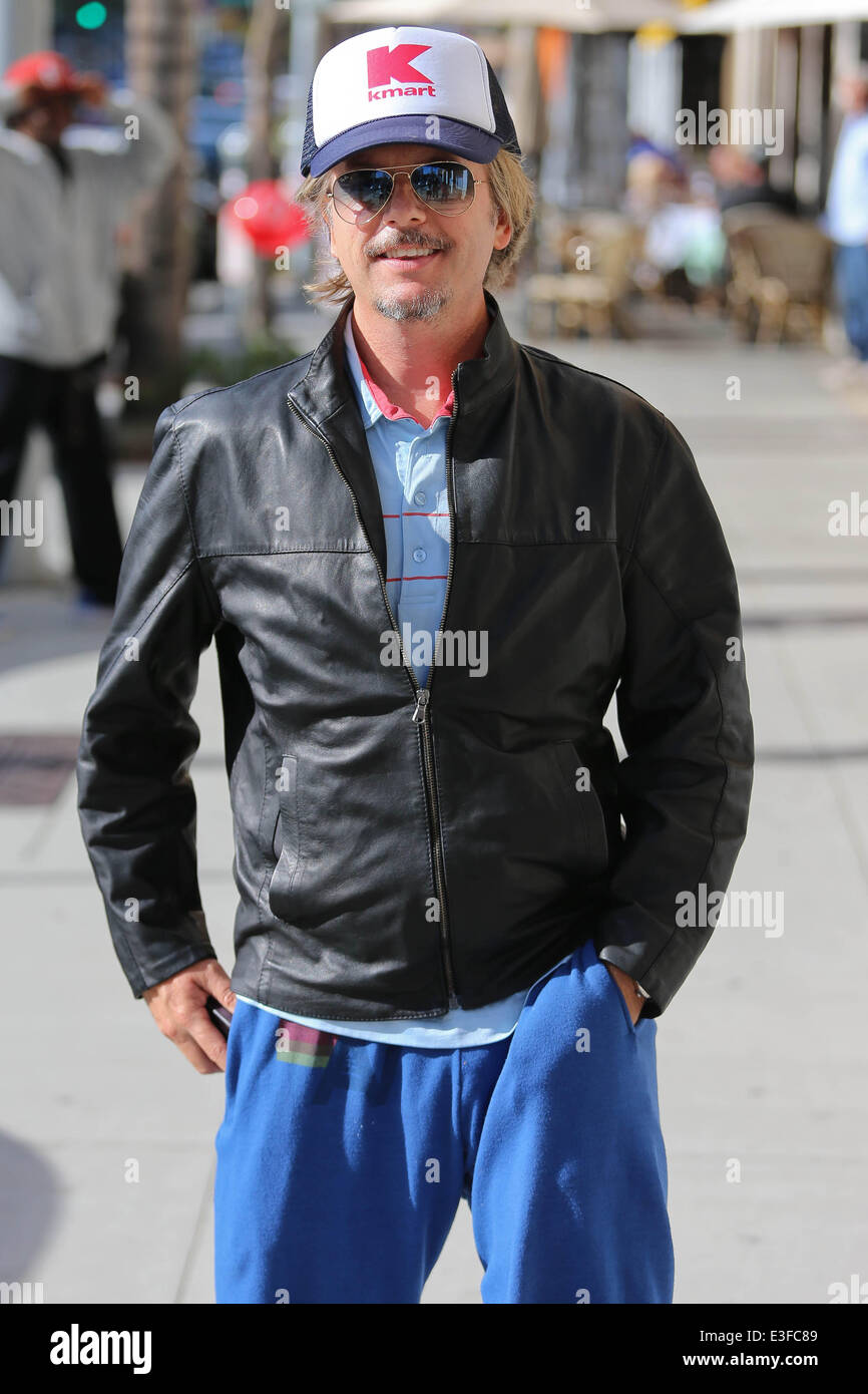 Leather jacket kmart -  David Spade Wears A Kmart Hat While Eating Lunch In Beverly Hills Featuring David