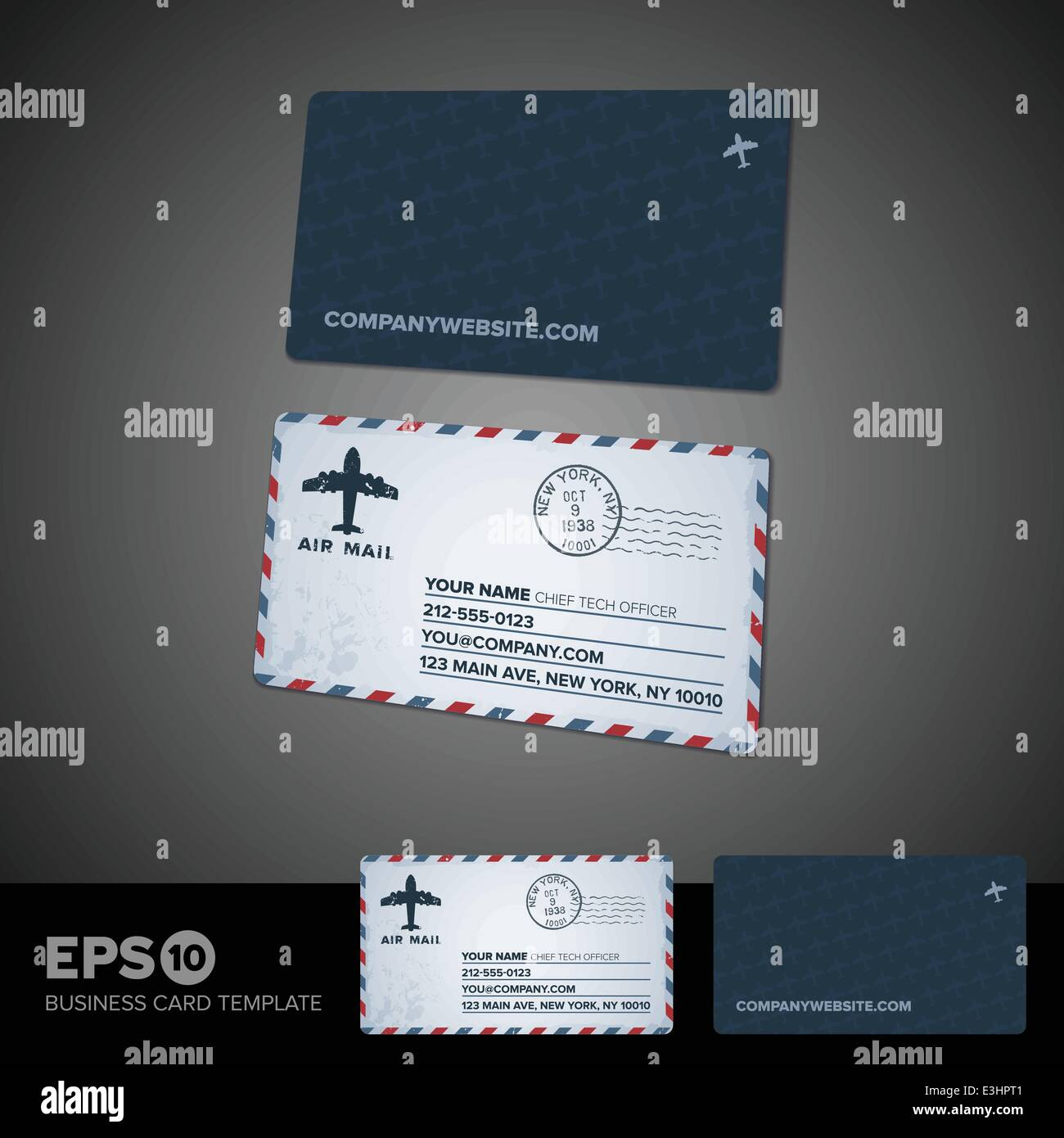 Rounded corner air mail retro business card template stock vector rounded corner air mail retro business card template accmission Gallery