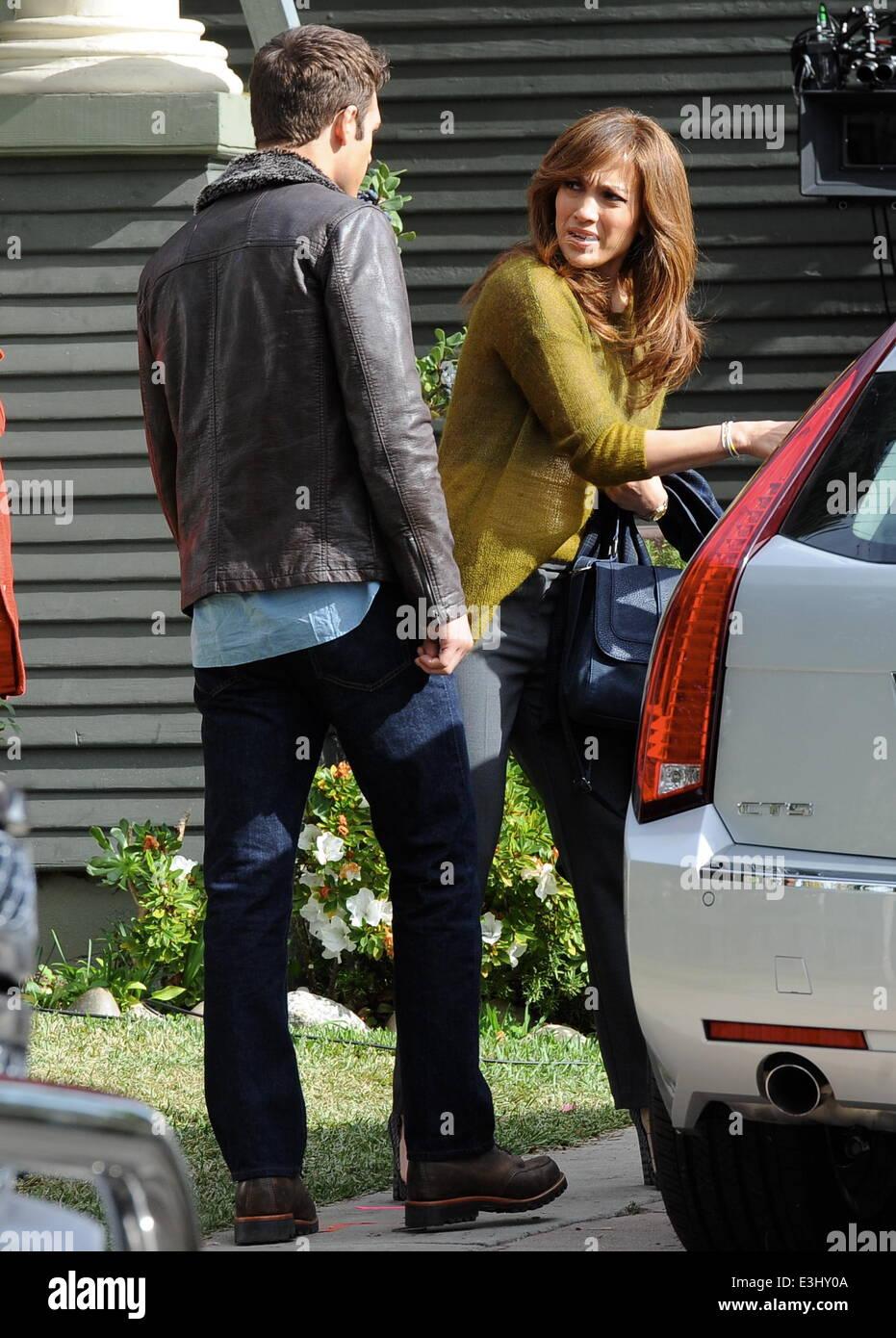Jennifer Lopez filming scenes for her new movie \u0027The Boy Next Door\u0027 with co stars John Corbett and Ryan Guzman in Hollywood Featuring: Jennifer LopezRyan ...