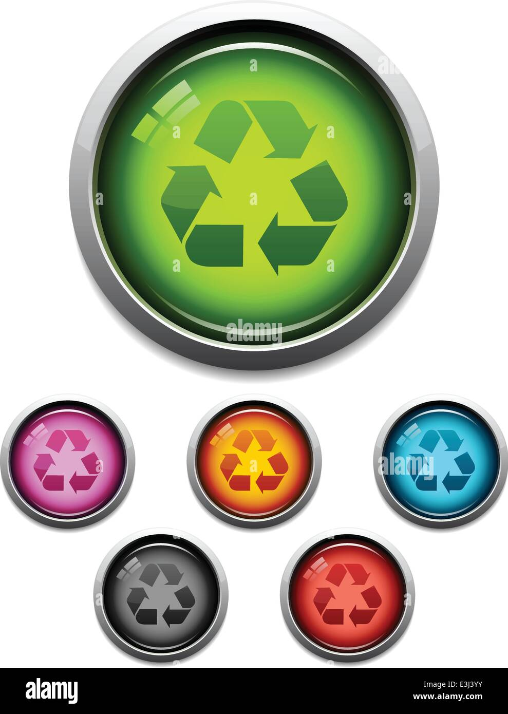 Glossy recycle symbol button icon set in 6 colors stock vector art glossy recycle symbol button icon set in 6 colors biocorpaavc