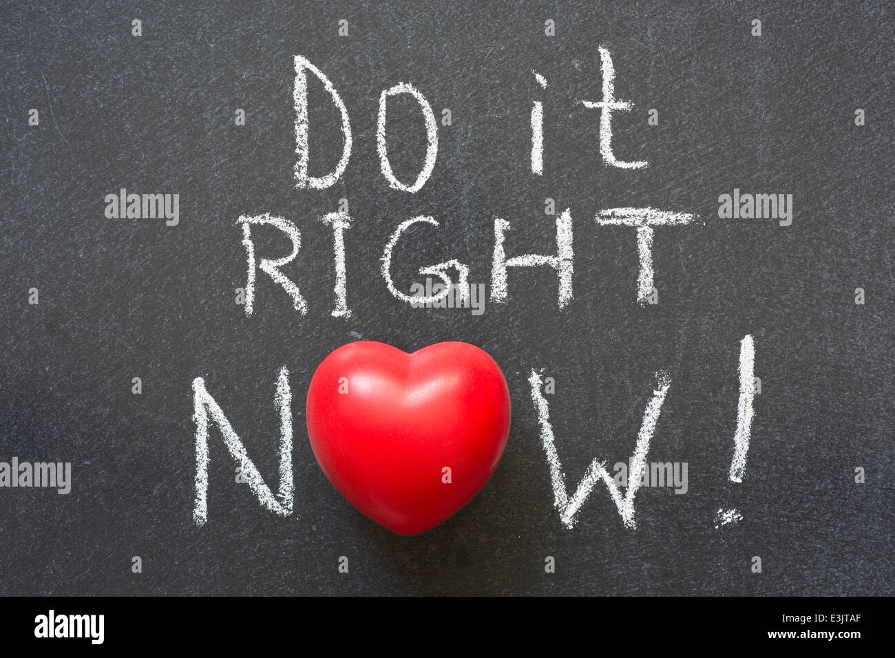 Do it right now exclamation handwritten on chalkboard with heart do it right now exclamation handwritten on chalkboard with heart symbol instead of o biocorpaavc