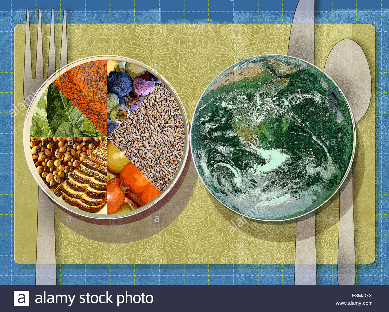 Place setting with healthy food pie chart plate next to globe plate place setting with healthy food pie chart plate next to globe plate nvjuhfo Choice Image