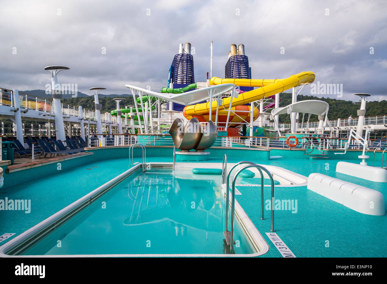 Deck 15 With Pools And Water Slides On The Norwegian Epic Cruise Stock Photo Royalty Free Image