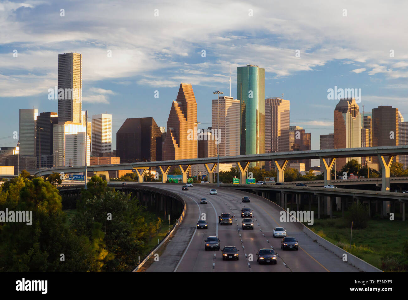 City Skyline And Interstate Houston Texas United States Of America Stock Photo Royalty Free