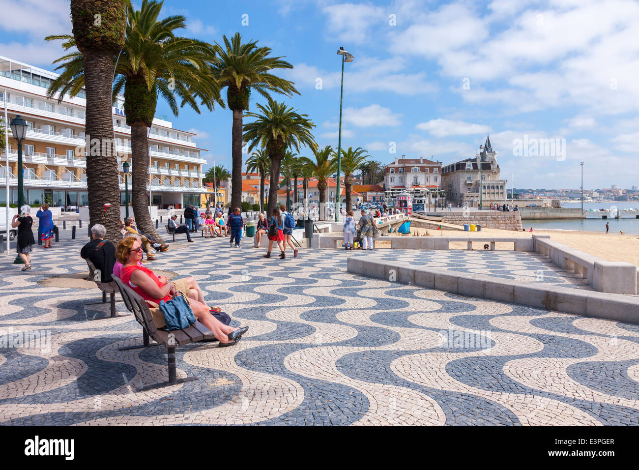 People relaxing on the seafront, Cascais. North of Lisbon Portugal Stock Photo, Royalty Free ...