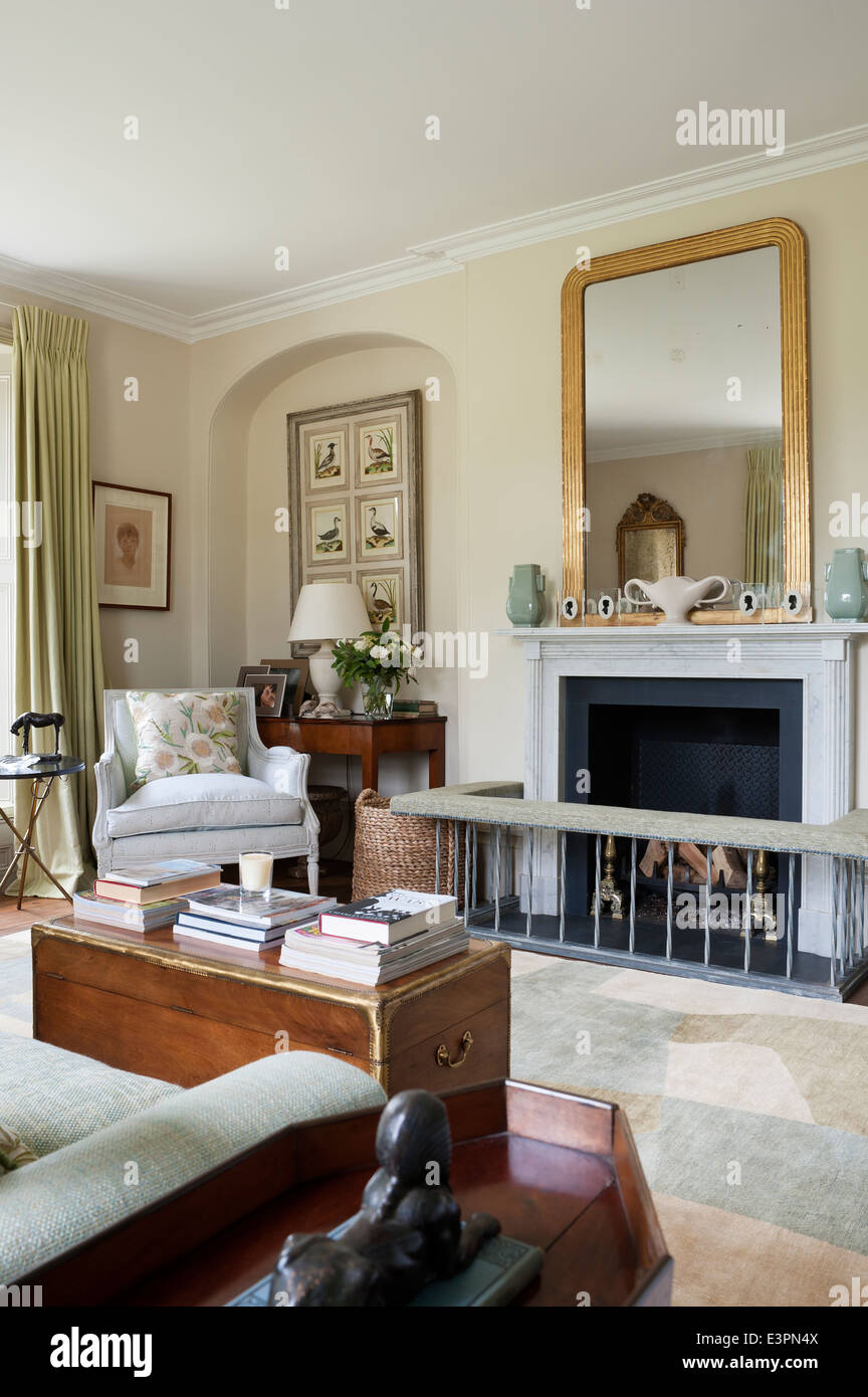 elegant drawing room painted in string by farrow ball. Black Bedroom Furniture Sets. Home Design Ideas