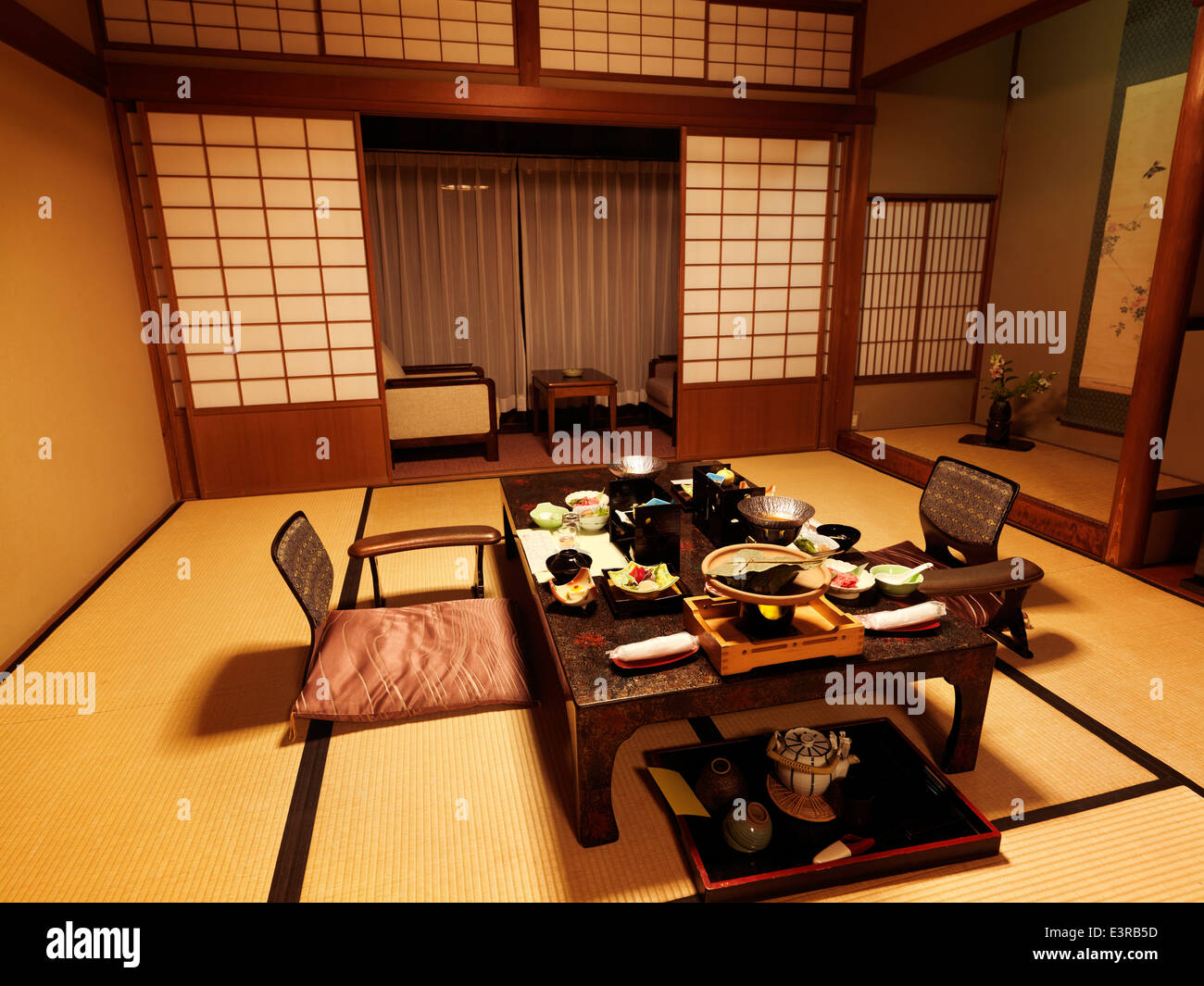 japanese traditional ryokan hotel room with dinner on a table gero gifu japan - Traditional Hotel Interior