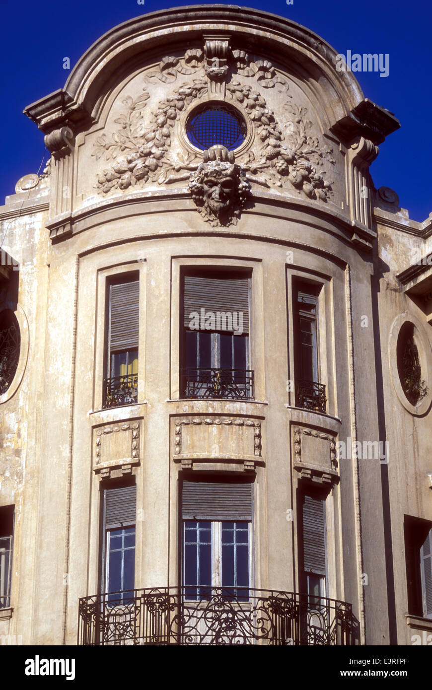 Art-deco facade of a building in Casablanca Morocco