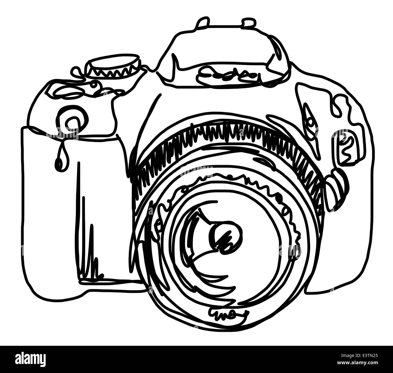 Drawing Lines In Photo : Continuous line drawing of a camera stock photo royalty
