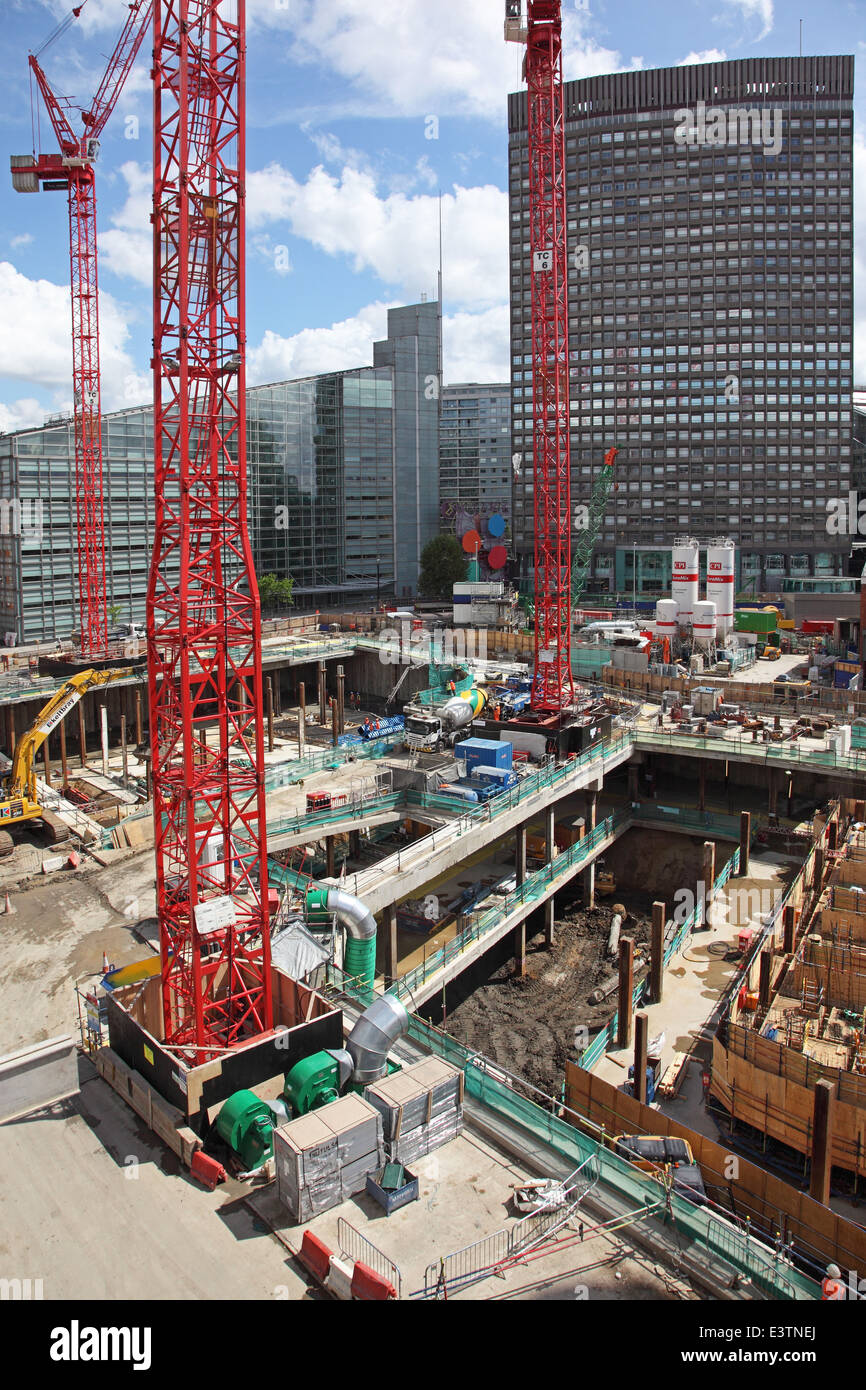Construction Of The Nova Victoria Development In London UK Showing Basement  Construction On A Confined City