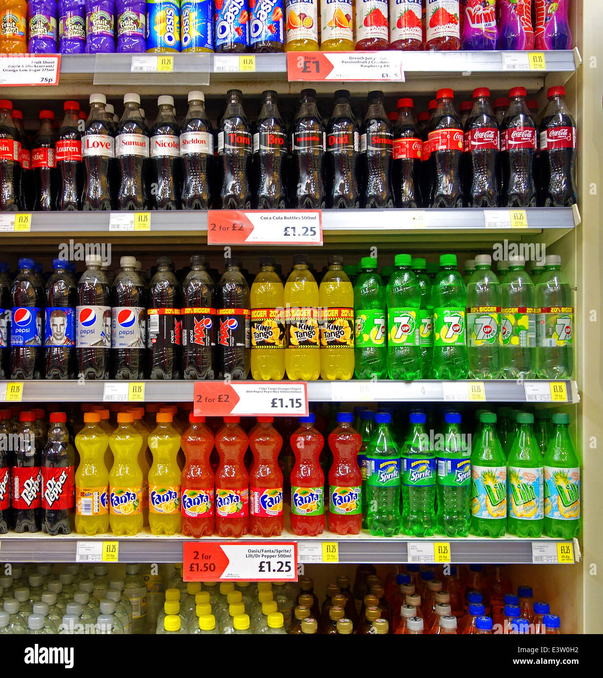 Bottles Of Soft Drinks In A Uk Supermarket Stock Photo