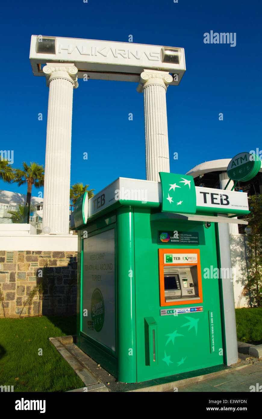 bodrum kartta ATM cashpoint outside Halikarnas outdoor disco night club, Bodrum  bodrum kartta