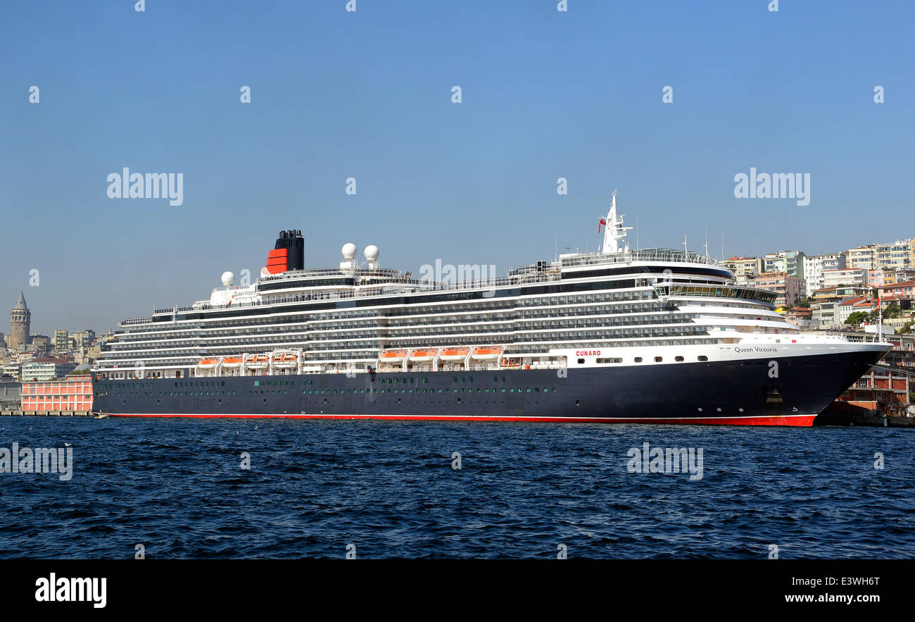 Queen Victoria Cruise Ship Moored In The Port Of Istanbul - Port side of a cruise ship