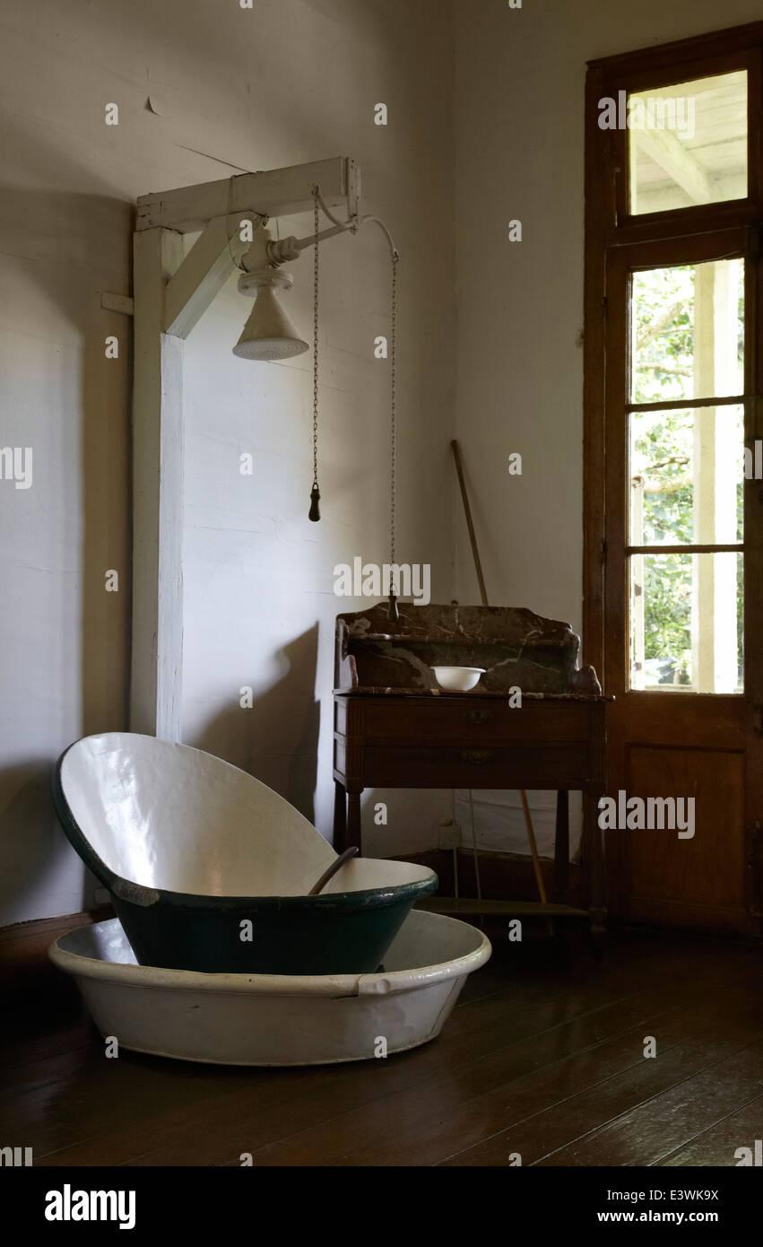 Bathroom in La Maison Creole a French colonial house aka Eureka aka house  of 109 doors in Moka  Mauritius. Bathroom in La Maison Creole a French colonial house aka Eureka