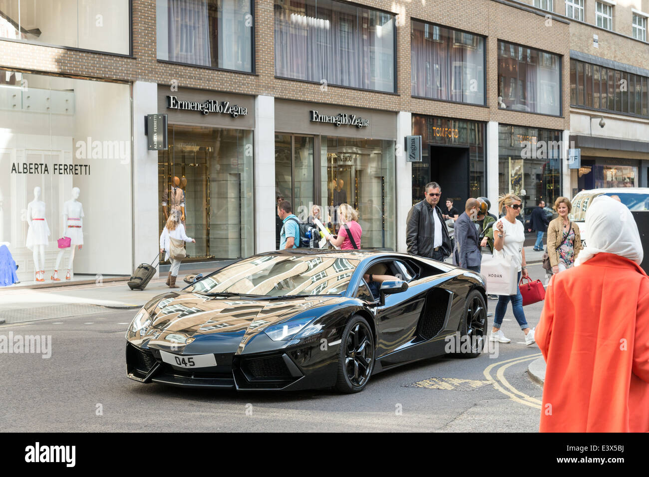 Lamborghini Supercar Driving Down Sloane Street London England