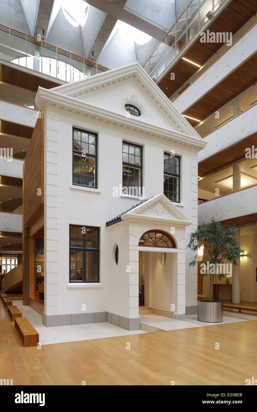 Gyldendal Headquarters, Oslo, Norway. Architect: Sverre Fehn, 2007. Central  Enclosed Courtyard With U0027Danish Houseu0027