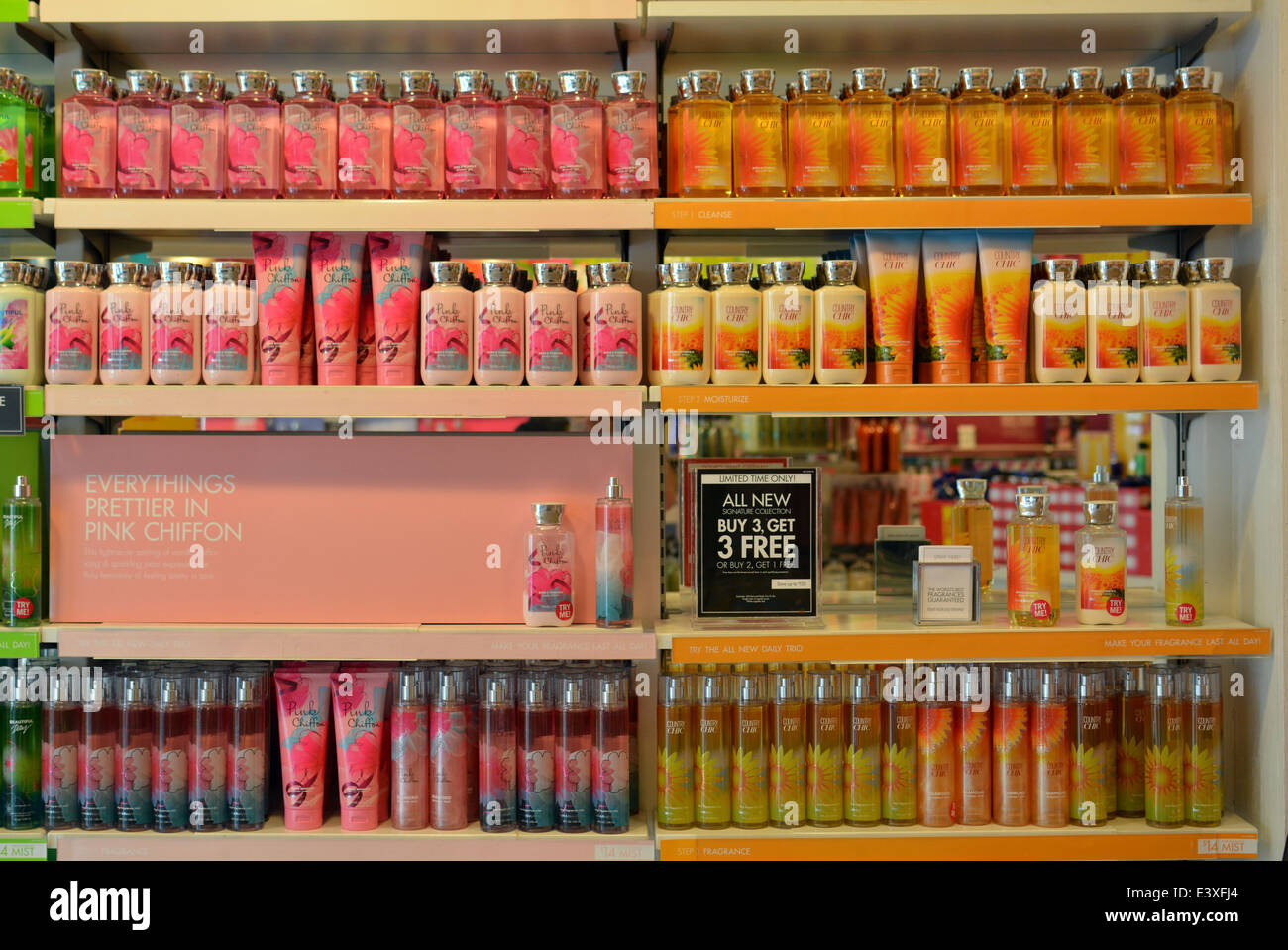 Scented soaps   perfumes for sale at a Bath   Body Works store on Austin  Street in Forest Hills  Queens  New York City. Scented soaps   perfumes for sale at a Bath   Body Works store on