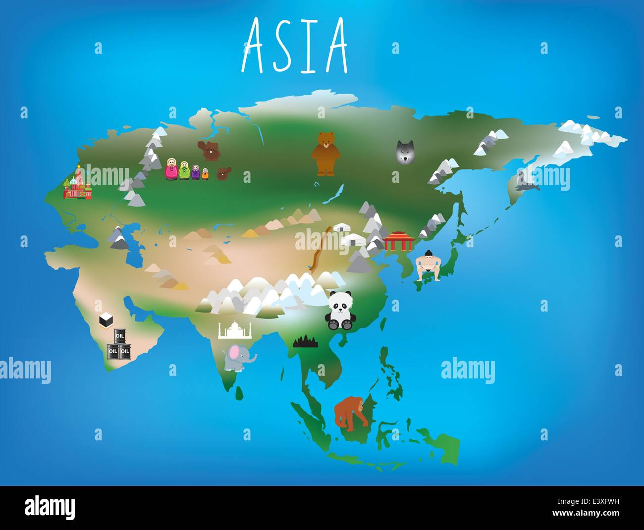 Cute illustrated map of asia with space to add country names in