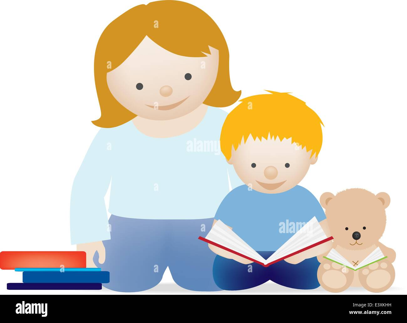 A vector illustration of a mum and her little boy reading ...